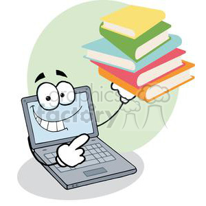 Laptop Cartoon Character Displays Pile Of Books clipart. Royalty-free image # 379505