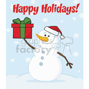 Holiday Greetings With Snowman clipart. Royalty-free image # 379510