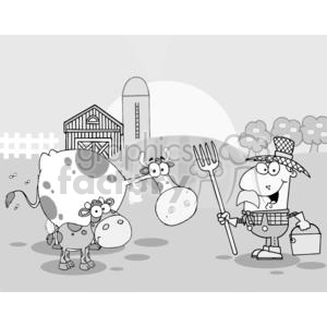 Country Farm Scene With Cows And Cowman clipart. Royalty-free image # 379515