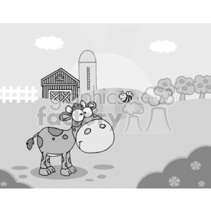 Country Farm Scene With Cute Little Cow Seen Flying Bee clipart. Commercial use image # 379520