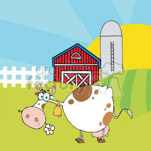 Cartoon Character Cow Different Color White In Front Of Country Farm clipart. Royalty-free image # 379530