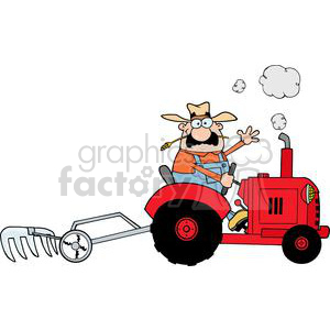 happy farmer driving a red tractor
