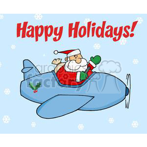 Santa Clause in a Blue Airplane with a happy Holidays banner clipart. Commercial use image # 379540