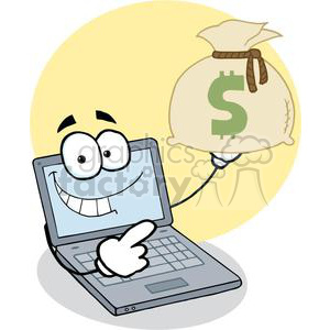 Laptop Cartoon Character Displays Money Bag clipart. Commercial use image # 379565
