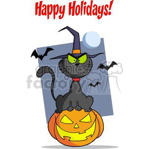 Happy Holidays Greeting With Halloween Cat on Pumpkin clipart. Royalty-free image # 379575