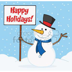 Holiday Greetings With Snowman clipart. Royalty-free image # 379580