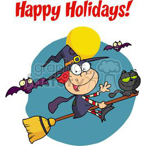 Happy Holidays Greeting With Halloween Little Witch clipart. Royalty-free image # 379585
