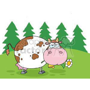 2148-Mountain-Dairy-Cow-With-Flower-In-Mouth clipart. Royalty-free image # 379590