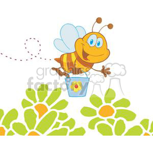 Cartoon-Character-Bee-Flying-Bucket-In-The-Garden clipart. Commercial use image # 379595