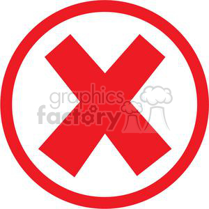 x cross crossed error oops cancel stop close circle round circled icon vector red