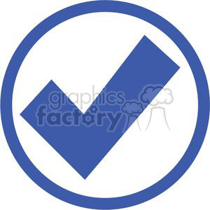 check mark approved passed circle round circled icon vector blue