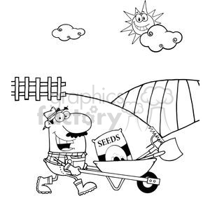 2473-Royalty-Free-Happy-Gardener-Drives-A-Barrow-With-Tools clipart. Royalty-free image # 379633
