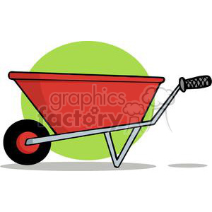 Red Wheel Barrow in front of a green circle clipart. Commercial use image # 379643