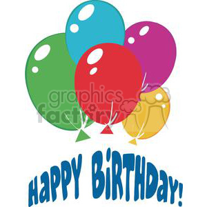 Happy birthday with a spray of balloons clipart. Royalty-free image # 379648