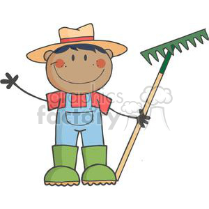 African American Farmer boy with a rake in grass with flowers