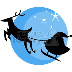 Santa and Sleigh in front of Blue Circle with stars clipart. Commercial use image # 379663