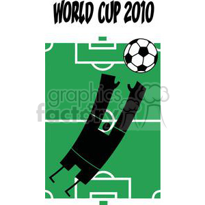 World cup 2010 with person jumping  for soccer ball in front of stadium clipart. Commercial use image # 379698