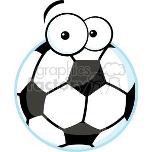 soccer ball with cartoon eyes