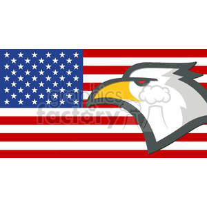 Eagle Head in front of the USA Flag clipart. Commercial use image # 379728