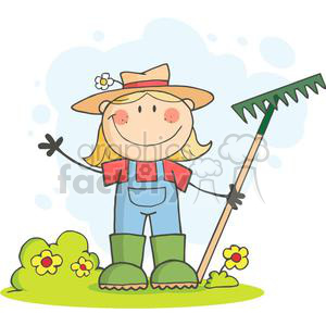 Farmer girl with a rake in grass with flowers clipart. Commercial use image # 379763