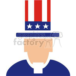 Uncle Sam with stars and stripes hat clipart. Royalty-free image # 379768