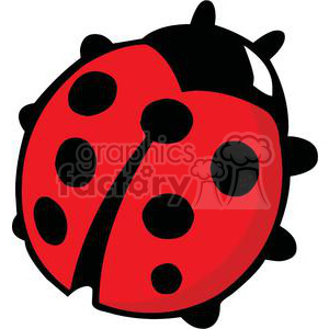 red ladybug with 7 black spots and 6 legs clipart. Royalty-free image # 379773