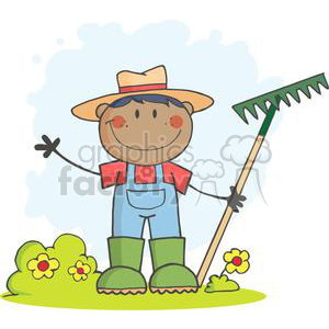 cartoon funny comical vector farmer farm farming country African+America rake gardening landscaper landscaping hello hi