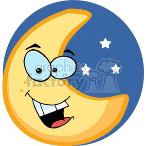 Smiling moon character with stars clipart. Commercial use image # 379808