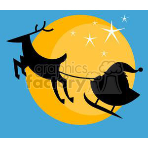 Santa Sleigh flying in front of the moon