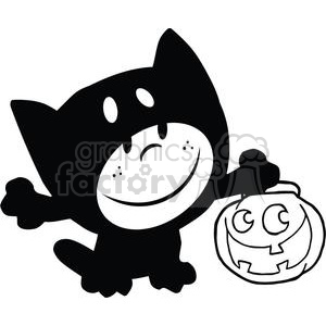 Black and white Child in Halloween cat suit with jack-o-lantern clipart. Commercial use image # 379868