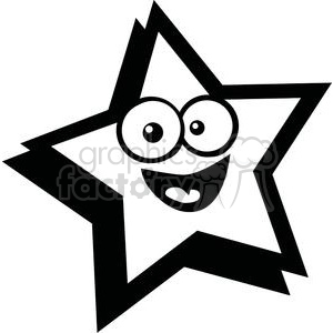 black and white smiling star