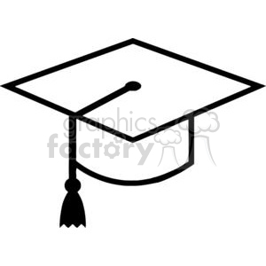 vector school graduation education mortarboard black+white outline
