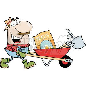 2472-Royalty-Free-Happy-Gardener-Drives-A-Barrow-With-Tools clipart. Commercial use image # 379968