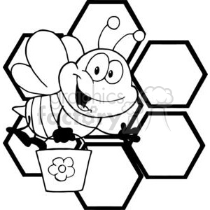 royalty-free smiling bee cartoon character in front of orange bee hives