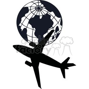 2393-Royalty-Free-Airplane-Flying-Around-The-Earth clipart. Commercial use image # 379978