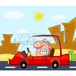 cartoon funny comical vector western car vacation travel driving Arizona Nevada Utah Death Valley desert happy smile