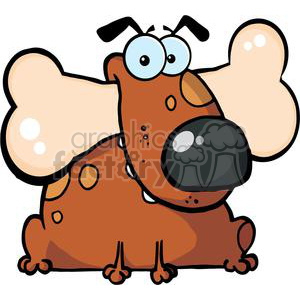 brown  spotted dog with a bone in its mouth  clipart. Royalty-free image # 380008