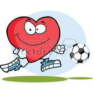 2561-Royalty-Free-Healthy-Red-Heart-Playing-With-Soccer-Ball clipart. Royalty-free image # 380013
