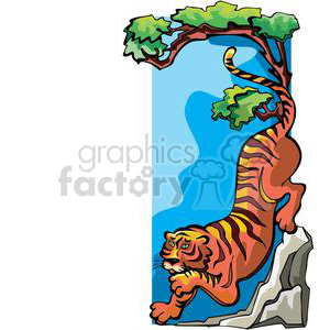 tiger climbing down a tree clipart. Royalty-free image # 380040