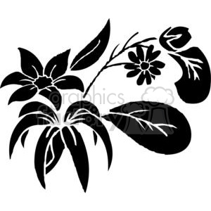 57-flowers-bw clipart. Commercial use image # 380075