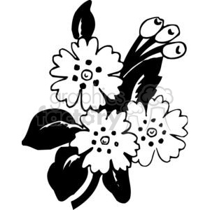 86-flowers-bw clipart. Commercial use image # 380115