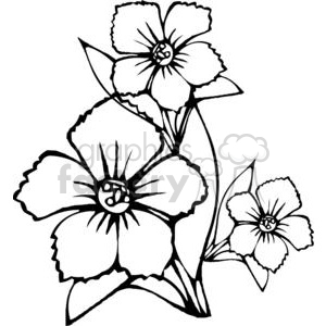 black outline of three flower clipart. Commercial use image # 380140