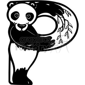 cartoon black white letter p panda bear bears