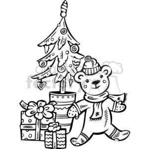 Christmas bear and tree clipart. Commercial use image # 381120