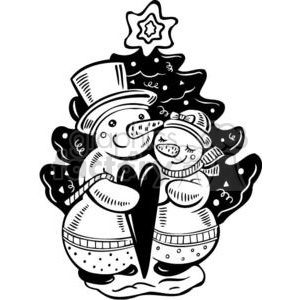 two snowmen in love clipart. Royalty-free image # 381125