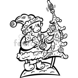 Santa decorating the Christmas  tree clipart. Royalty-free image # 381130