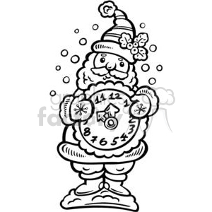 Christmas Holidays Happy Festive Black+White cute funny cartoon vector royalty-free Santa+Claus Saint+Nick time clock