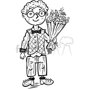 cartoon children child kid kids people little black white boy boys flower flowers bouquet