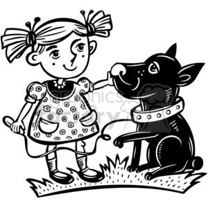 girl sitting with her pet dog clipart. Commercial use image # 381501