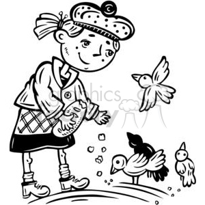 young girl feeding the birds clipart. Royalty-free image # 381506